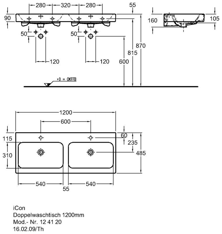 Doppelwaschbecken maße  F.R.I.T.Z. Haustechnik GmbH   Keramag iCon Doppelwaschtisch